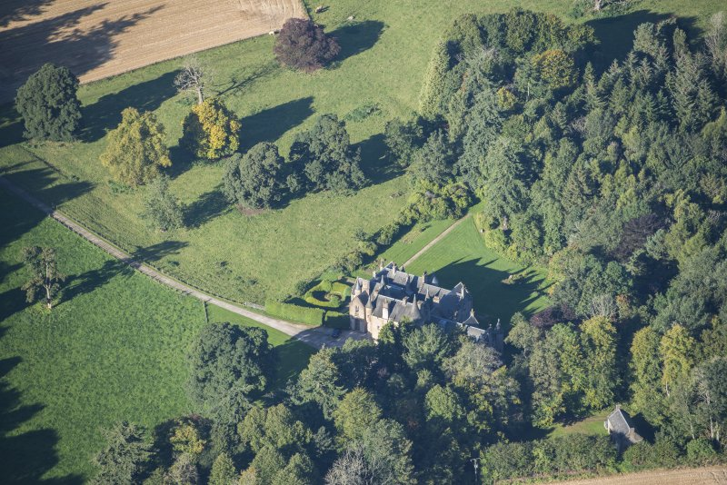 Oblique aerial view of Pitcaple Castle, looking W.