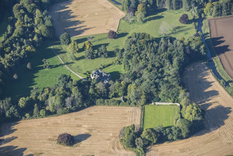 Oblique aerial view of Pitcaple Castle, looking WSW.