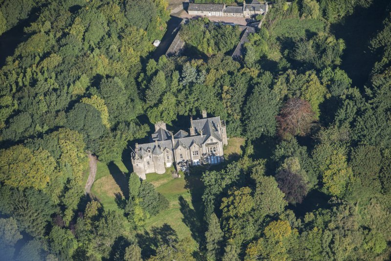 Oblique aerial view of Westhall House, looking NW.