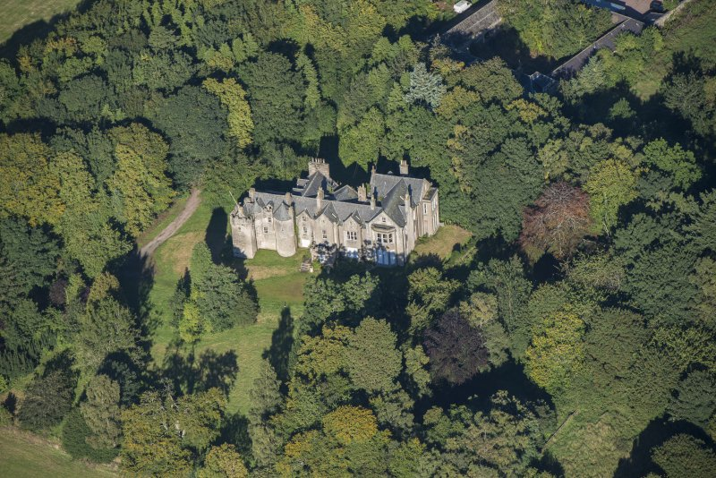 Oblique aerial view of Westhall House, looking WNW.