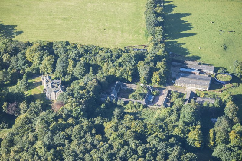 Oblique aerial view of Westhall House and Home Farm, looking WSW.