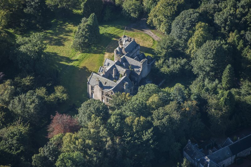 Oblique aerial view of Westhall House, looking SSW.
