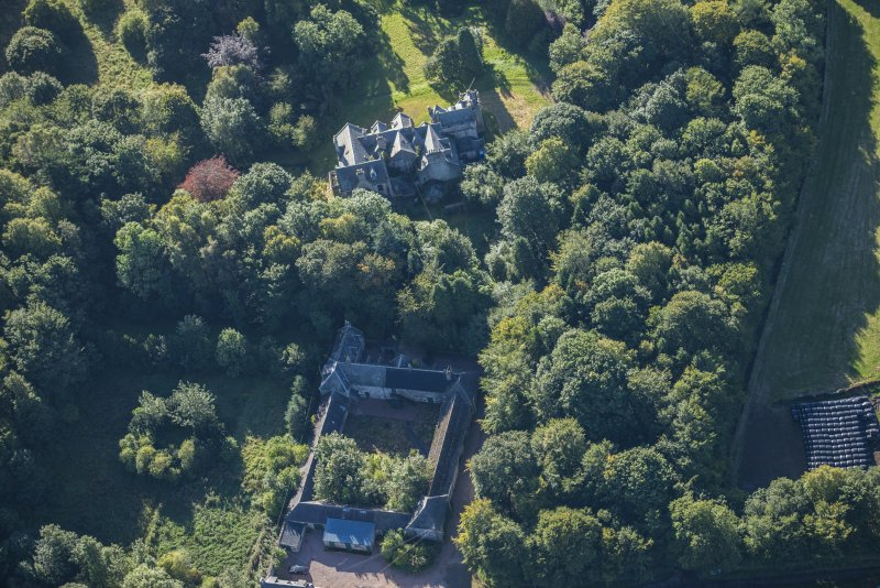 Oblique aerial view of Westhall House and walled garden, looking SE.