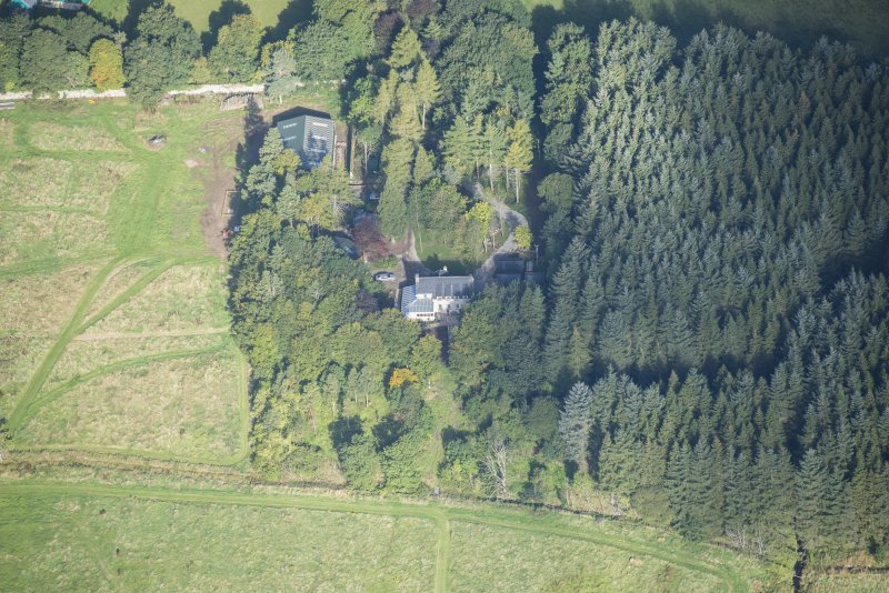 Oblique aerial view of Rothiemay Castle, looking NW.