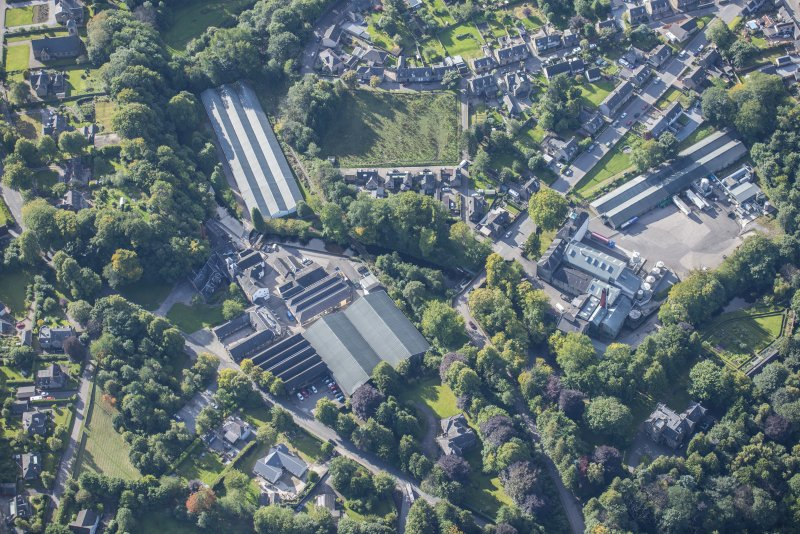 Oblique aerial view of Glen Keith Distillery and Strathisla Distillery, looking S.