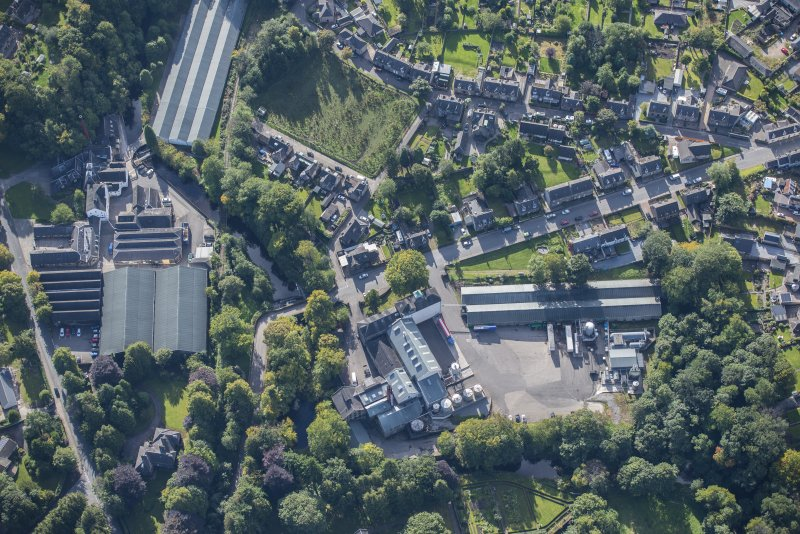Oblique aerial view of Glen Keith Distillery and Strathisla Distillery, looking SSE.