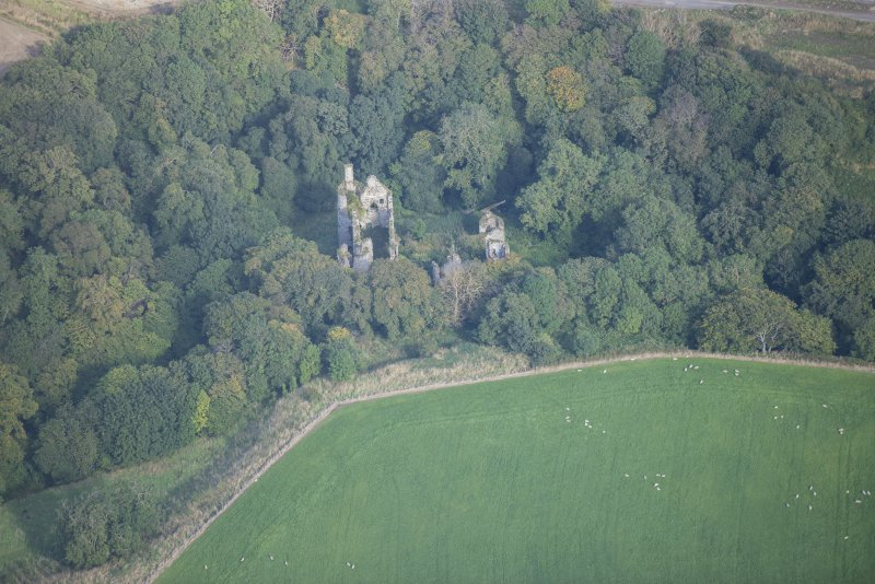 Oblique aerial view of Boyne Castle, looking NNW.