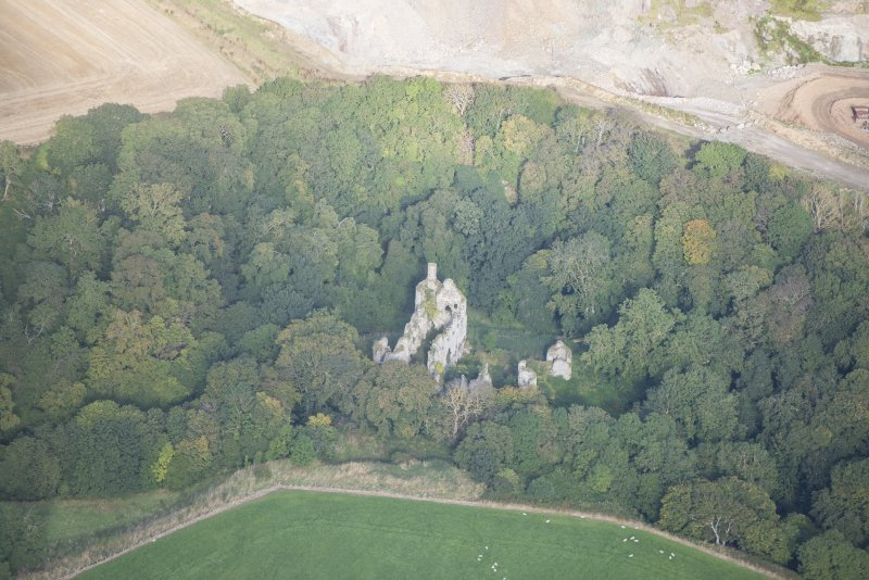 Oblique aerial view of Boyne Castle, looking NW.