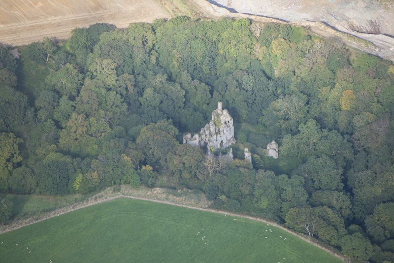 Oblique aerial view of Boyne Castle, looking WNW.