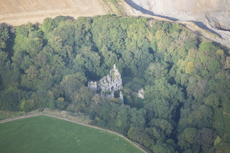 Oblique aerial view of Boyne Castle, looking W.