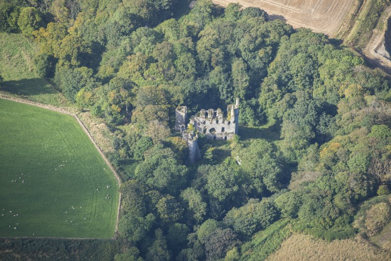 Oblique aerial view of Boyne Castle, looking WSW.