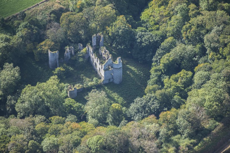 Oblique aerial view of Boyne Castle, looking SSW.