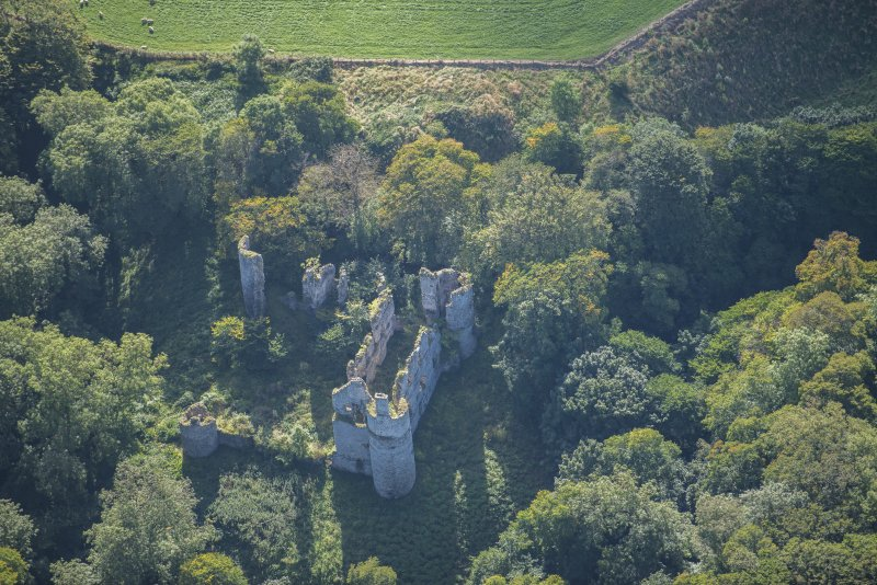Oblique aerial view of Boyne Castle, looking S.