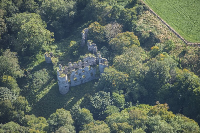 Oblique aerial view of Boyne Castle, looking ESE.