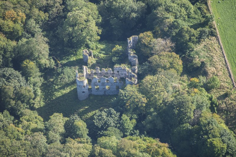Oblique aerial view of Boyne Castle, looking E.