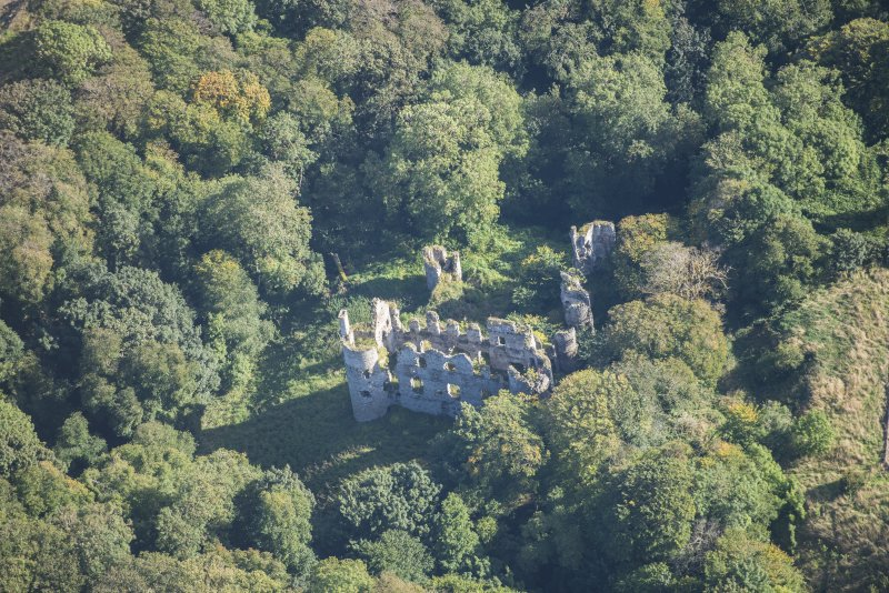 Oblique aerial view of Boyne Castle, looking ENE.
