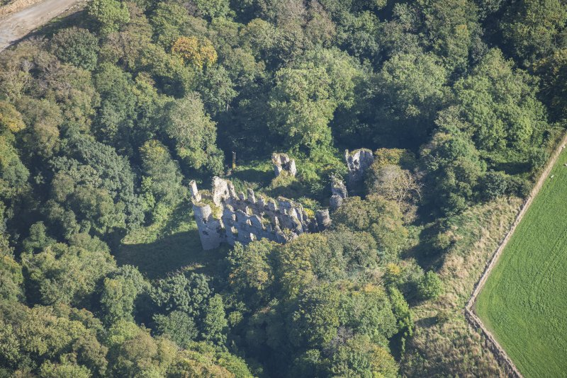 Oblique aerial view of Boyne Castle, looking NE.
