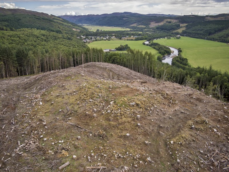 Pre-evaluation aerial photograph by Ed Martin, facing east north east over the dun looking down Strath Glass, Comar Wood Dun, Cannich, Strathglass