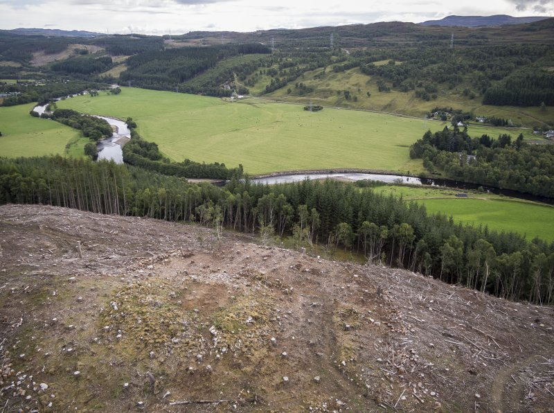 Pre-evaluation aerial photograph by Ed Martin, facing east south east over the dun looking over Strath Glass, Comar Wood Dun, Cannich, Strathglass
