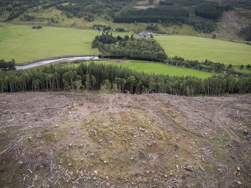 Pre-evaluation aerial photograph by Ed Martin, facing south east over the dun looking over Strath Glass, Comar Wood Dun, Cannich, Strathglass