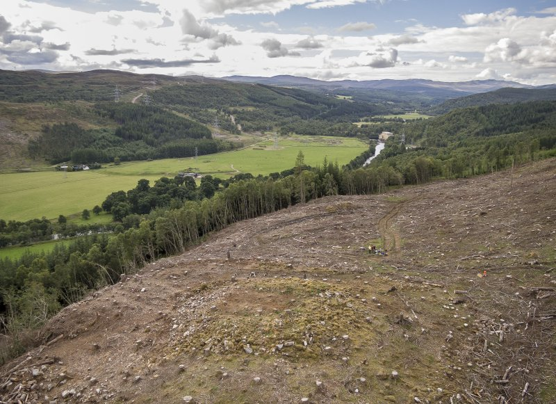 Pre-evaluation aerial photograph by Ed Martin, facing south west over the dun looking down Strath Glass, Comar Wood Dun, Cannich, Strathglass