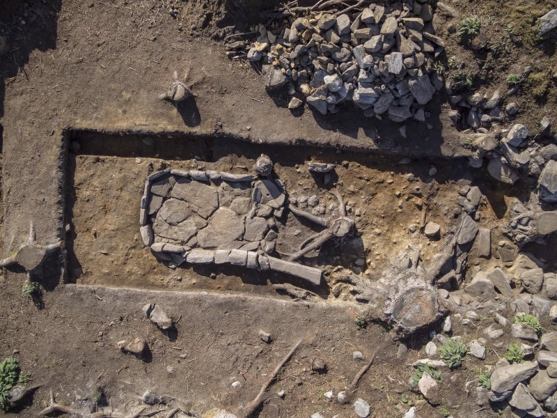Post-excavation aerial photograph of the hearth by Ed Martin, south direction is up, Comar Wood Dun, Cannich, Strathglass