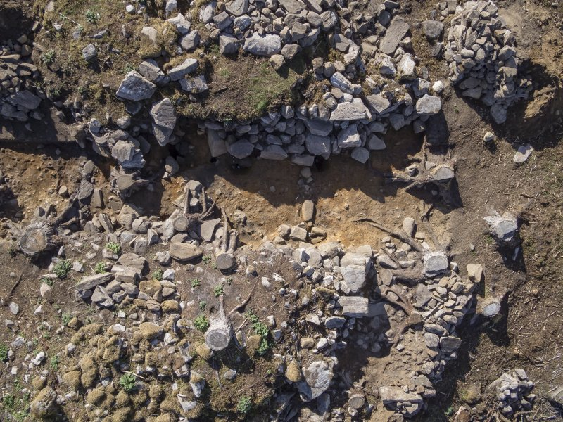 Post-excavation aerial photograph of the west half of Trench 1 by Ed Martin, south direction is up, Comar Wood Dun, Cannich, Strathglass