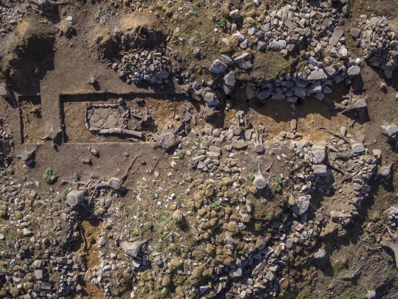 Post-excavation aerial photograph of Trench 1 by Ed Martin, south direction is up (Trench 7 to far left), Comar Wood Dun, Cannich, Strathglass