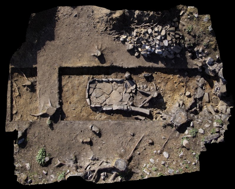 Aerial image of the hearth in Trench 1 and Trench 7 (left), south direction is up, Comar Wood Dun, Cannich, Strathglass