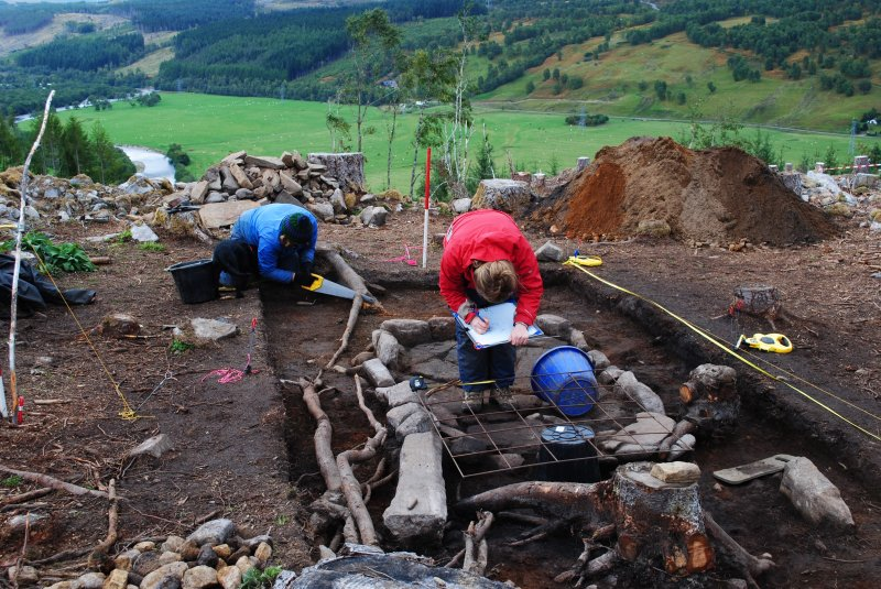 Excavation in progress in Trench 1, Comar Wood Dun, Cannich, Strathglass