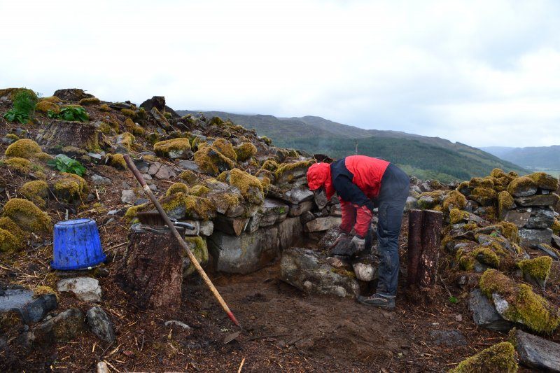 Excavation in progress, north extension to Trench 1; image shows the outer wall face on the north side of the entrance, Comar Wood Dun, Cannich, Strathglass