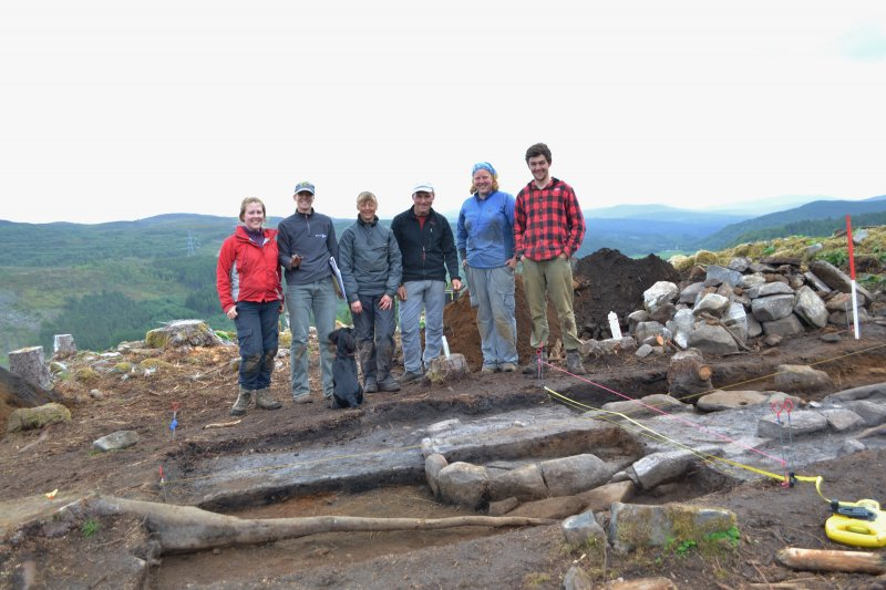The site team (looking over the east end of Trench 1), Comar Wood Dun, Cannich, Strathglass