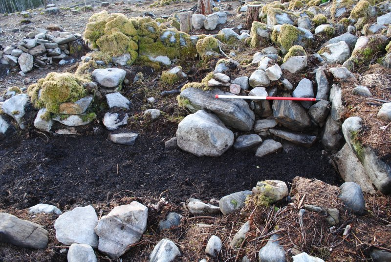 Image of the trench after backfilling, Comar Wood Dun, Cannich, Strathglass
