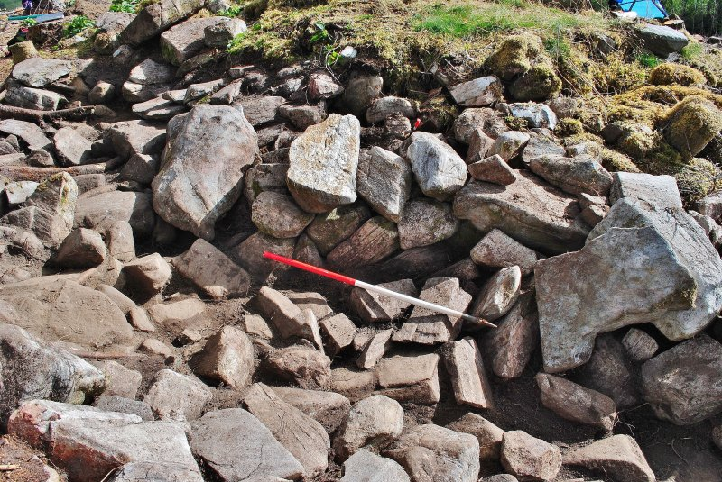 Possible collapsed walling, south side of entrance passage, Comar Wood Dun, Cannich, Strathglass