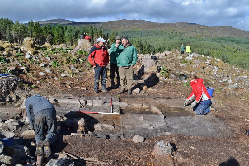 Working view - sectioning hearth inside dun courtyard, Comar Wood Dun, Cannich, Strathglass