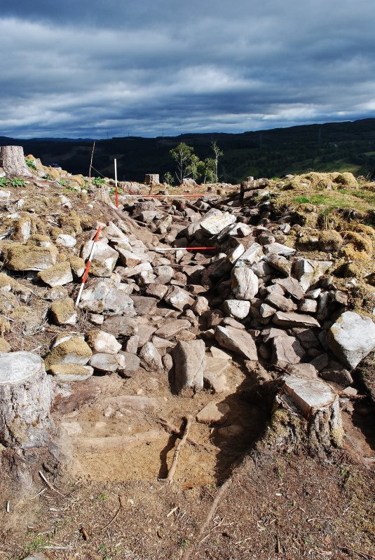 Trench 1, after primary clean-back, showing the rubble-filled entrance passage, Comar Wood Dun, Cannich, Strathglass