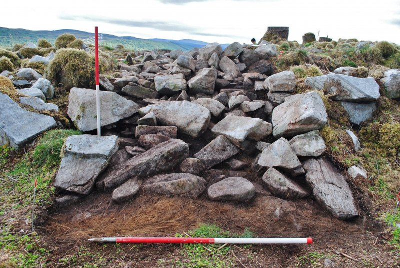 Mid-excavation image, the outer face just visible below the rubble spread on the outside of the dun after initial clean-back, Comar Wood Dun, Cannich, Strathglass