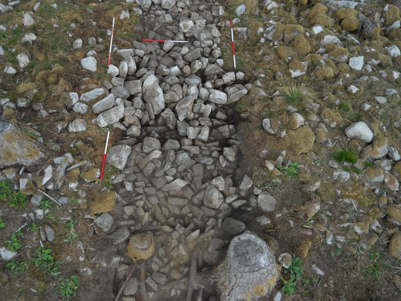 Looking over the south end of Trench 2 after initial clean-back -  showing the spread of small stones on the inside of the structure  and the bulk of rubble at the centre of the trench over the dun inner wall face, Comar Wood Dun, Cannich, Strathglass