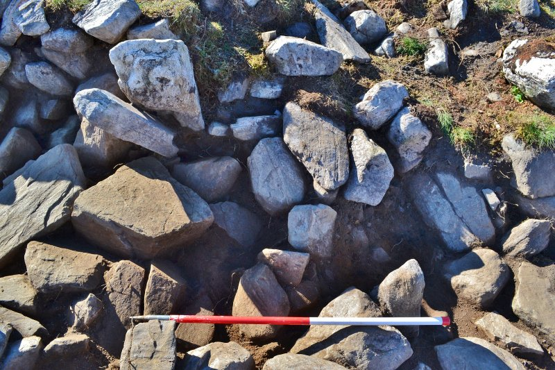 Mid-excavation image of north end of Trench 2, Comar Wood Dun, Cannich, Strathglass