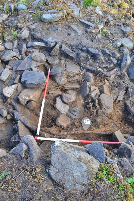 Mid-excavation image - west-north-westfacing section of Trench 2, south end, Comar Wood Dun, Cannich, Strathglass