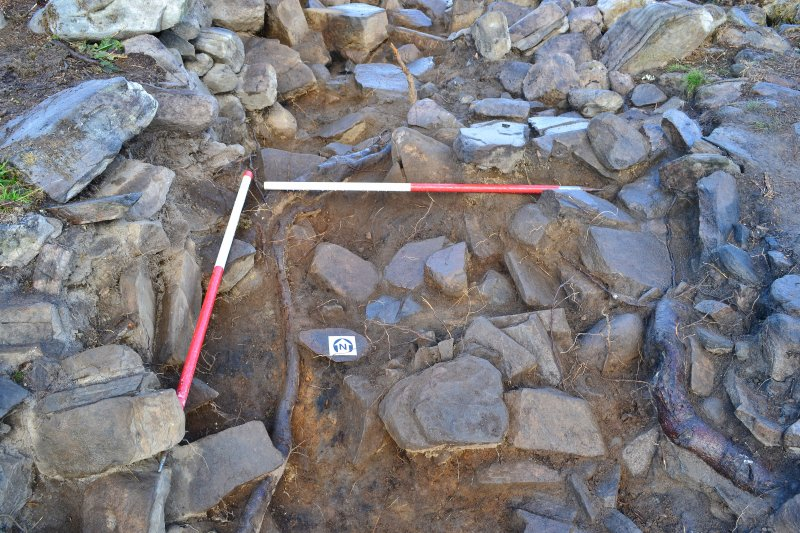 Mid-excavation image - south end of Trench 2, Comar Wood Dun, Cannich, Strathglass