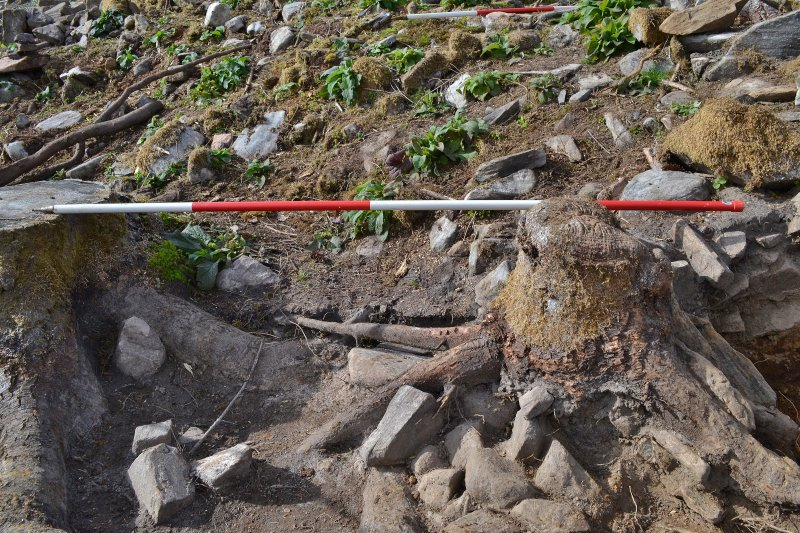 Post-excavation image of east-west-east facing trench section, south end, Comar Wood Dun, Cannich, Strathglass