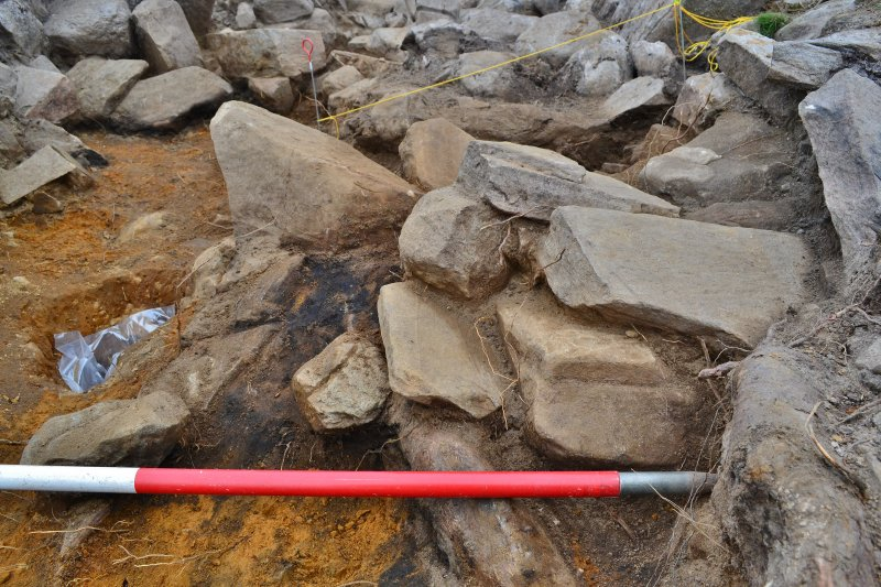 Mid-excavation, working image of posthole 215, Comar Wood Dun, Cannich, Strathglass