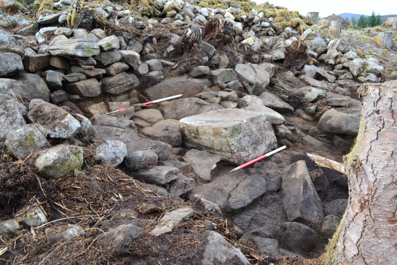Mid-excavation image after initial clean-back showing blocked passage in the outer wall (top left) and possible external wall base (front centre) with slab steps in front, Comar Wood Dun, Cannich, Str ...