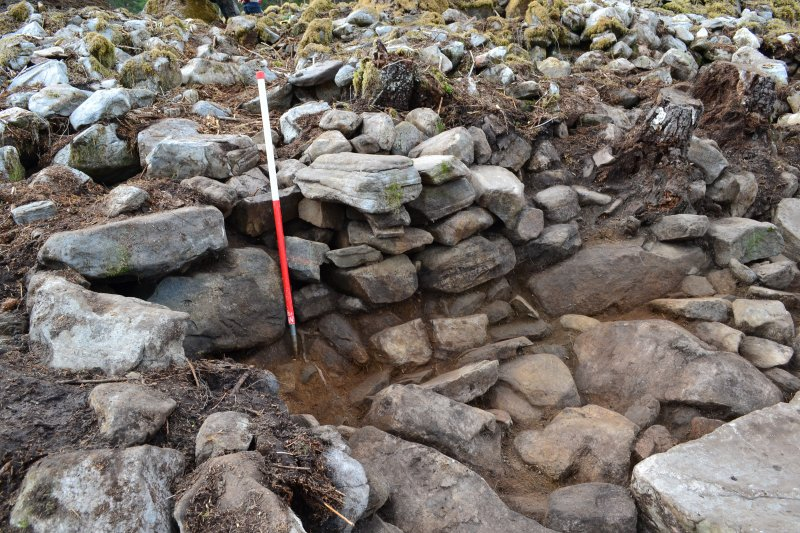 Mid-excavation image after initial clean-back showing blocked passage in the outer wall, Comar Wood Dun, Cannich, Strathglass