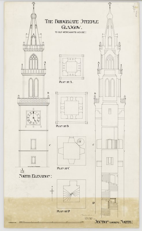 Bridgegate, Merchant's Steeple Elevation, section and plans Titled: 'The Bridgegate Steeple Glasgow.  To Old Merchant's House' Signed: 'T A Macadam delt  P MacGregor Chalmers  95 Bath Street Glasgow  April 1910'