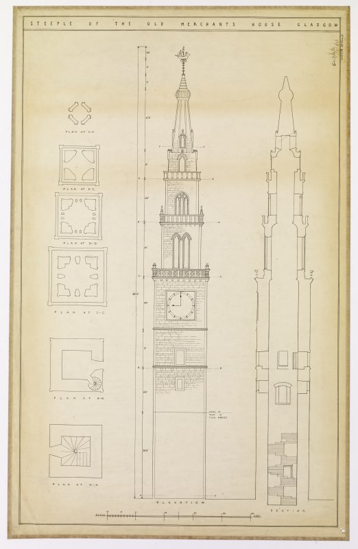 Bridgegate, Merchant's Steeple Elevation, section and plans Titled: 'Steeple of the Old Merchant's House Glasgow' Signed: 'Helen L Jackson  Glasgow School of Arch  Measured study II'