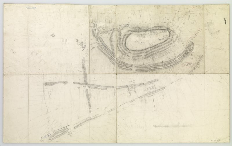Plane-table survey; Woden Law, fort. Entire plan redrawn on a single sheet.