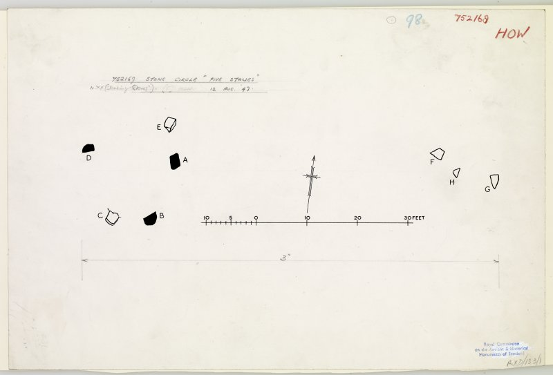Publication drawing; plan of Five Stanes stone circle.