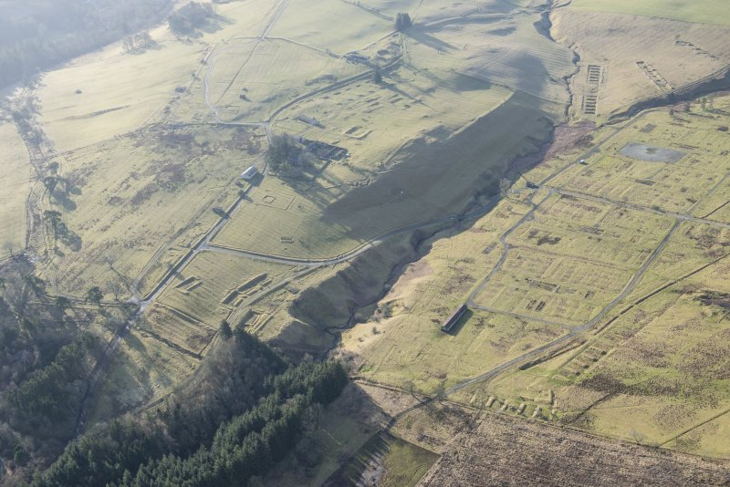 Oblique aerial view of Stobs Camp, looking SSE.